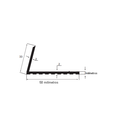 N54 Cantoneira de borracha para escada 58x33mm preto Rolo 25 Metros