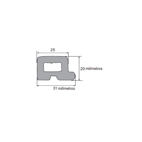 N110 Borracha esponjosa porta baú 31x20mm 25 Metros