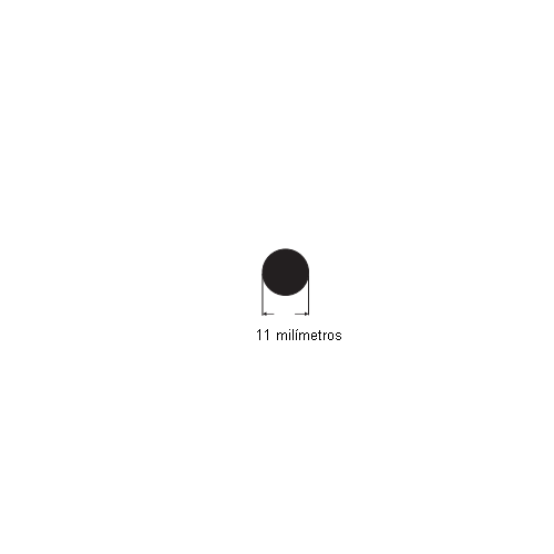 N194 Cordão de borracha maciça 11mm (preto)