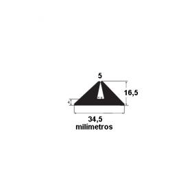 N91 Borracha para forma de concreto 34,5x16,5x5mm (25 metros)