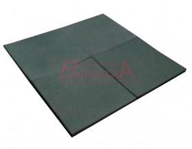 Piso de borracha placa academia 50X50cm 15mm (verde)