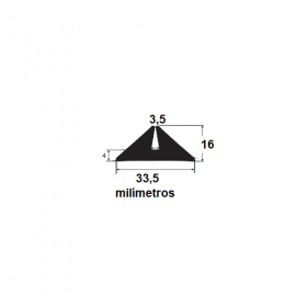 Borracha para forma de concreto 33,5x16x3,5mm (25 metros)
