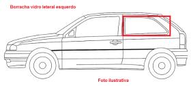 Borr. vidro lateral fixo Chevette Sedan  73/92 s/lado