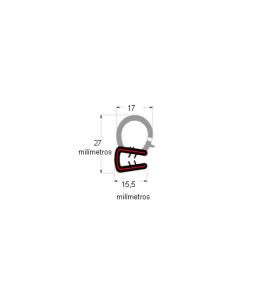 N106 Borracha de porta bulbo alto s/aba (metro)