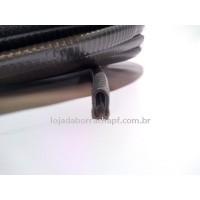 """N38 Perfil de PVC em """"U"""" 9x14mm Preto (casca de cobra)"""